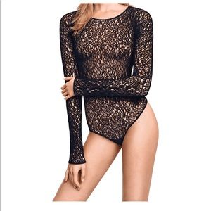 WOLFORD NEW Lee String Black Bodysuit